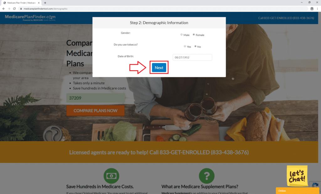 Medicare Supplement Finder Tool Step 2 | Medicare Plan Finder